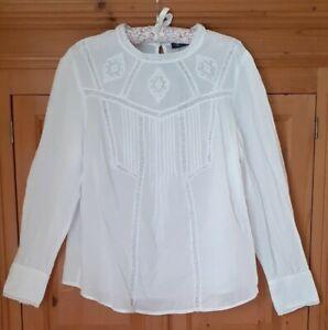 M&S Victorian Blouse Sz 20, Cotton, Romantic, Lace, Pintuck, Vintage Look, NEW