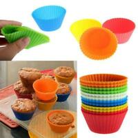 12pc Chocolate Cupcake Soft Silicone Baking Cup Cookie Mold Cake Muffin L