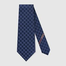 Gucci Mens GG Diamond Fedra Navy Blue Silk Tie BNWB