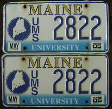 2005 MAINE LICENSE PLATE PAIR # 2822  UNIVERSITY OF MAINE