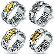 Feng Shui Pixiu Ring Mani Mantra Protection Wealth Ring Silver Retro Adjust Gift