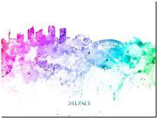 "Sydney City Skyline Australia Watercolor Abstract *FRAMED* Canvas Print 24x16"""