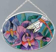 JOAN BAKER GLASS SUNCATCHER - IRIS AND DRAGONFLY