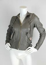 Mike & Chris Sz S Taupe Gray Leather Hooded Zip Front Jacket