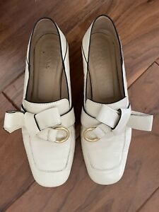 Chloe  Quincy Convertible Loafers - Cream Leather Tie Knot Slip On 37