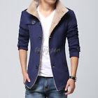 Mens Stand Collar Fur Lining Winter Thicken Overcoat Fleece Jacket Slim Fit Coat