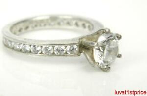 QVC 3.25ct Diamonique DQCZ 925 Sterling Silver Solitaire / Eternity Ring s7.25