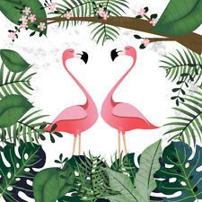 Vinyl Tropical Greenery Leaves Flamingo Flowers Studio Backdrop Background 5x5FT