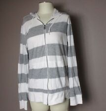 AEROPOSTALE SIZE L WOMEN'S WHITE/GRAY FULL ZIP HOODED STRETCHY 80%COTTON SWEATER