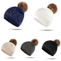 Women Winter Beanie Hat Warm Knitted With Small Crystals Large Pom Pom Casual