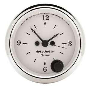 Auto Meter Old Tyme White 2 1/16in Quartz Clock