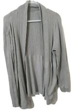 2X Faded Glory 100% Cotton Cardigan Sweater Gray Cable Knit Open Front Heather