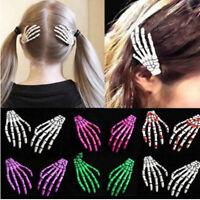 Punk Skeleton Claw Hand Bone Hair Clip Pin Grip Slide Zombie Rockabilly Women