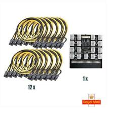 More details for 17 port 6 pin mining breakout board & 12 x 6 pin to 6/8 pin pcie cables 50cm