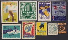 US Vintage Mixed lot 9 Cinderella Stamps Piano,Hospital,Parks,Coupon,X-Mas 427