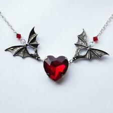 Silver bat necklace with Red heart/Gothic  vampire jewelry