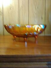 Antique Harvest Gold Carnival Glass Fruit Bowl Indiana Collectible Serveware