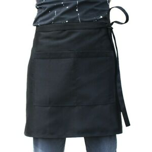 Half Size Waist Black Chef Aprons Universal Restaurant Bistro Plain 2 Pockets UK