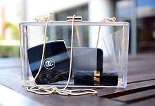 Rare! ZARA Clear Perspex Box Clutch Bag Handbag With Long Chain Strap