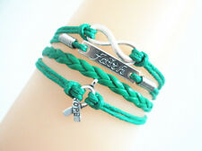 """Infinity/Faith/Cancer Awareness With """"HOPE"""" Charms Leather Bracelet - Green"""