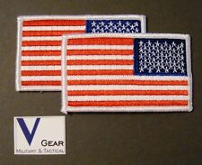 US USA American Flag Patch REVERSE WHITE Border **LOT of 2**