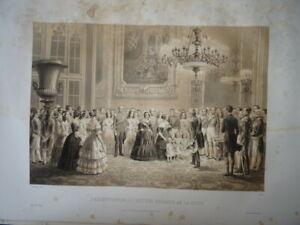 GRANDE LITHO SCENE ROI LOUIS PHILIPPE ORLEANS REINE VICTORIA ANGLETERRE 1846 a