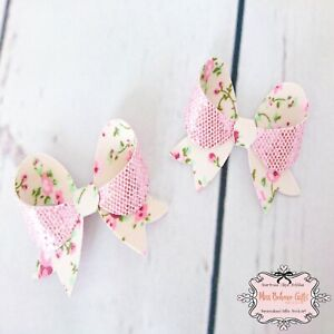 Set of 2 Floral and Pink Glitter Double Sided Hair Bow Clip or bobble 2 1/2 Inch