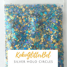 Blue & Yellow Hex Mix Holographic | 1 TSP | Acrylic Gel Nail Art Holo Mixed Size