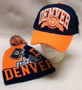 """DENVER!!!  Orange and Navy  """"DOUBLEHEADER""""  Hat and Beanie Combo Gift Set"""