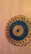 Blue/ Golden  Circular Ornament Metal and Glass Peacock style