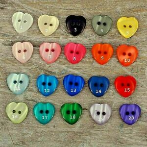 Heart Buttons, Crafts Card making, sewing and craft, 20 Pcs per colour BT20