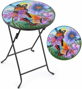 Glass Top Bistro Table Small Folding Garden Patio Painted Butterfly Bar Decor UK