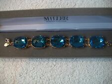 NOLAN MILLER Bracelet STUNNING Big & Bold London Blue Topaz Crystal GP Links WOW