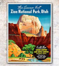 "Vintage Travel Poster Art Utah Zion Print 8x10"" A117"