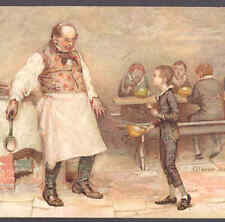 NISTER....DICKENS CHARACTERS,OLIVER TWIST ASKS FOR MORE FOOD,CHROMOLITH POSTCARD