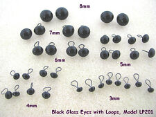 18 PAIR Black Glass EYES with Wire Loops Assorted Sizes 3mm to 8mm (LP-201)
