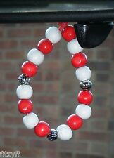 In Car Hanging Red & White Wooden Beads Football Rugby Team Gift Souvenir