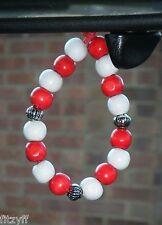 En voiture pendaison rouge & blanc perles en bois football rugby équipe cadeau souvenir
