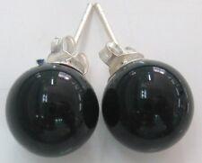 925 STERLING SILVER 10mm BLACK ONYX CABACHONE POLISH BALL STUDS EARRINGS - GIRL