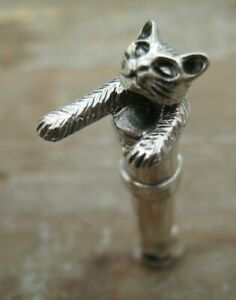 Well Modelled Novelty Solid Silver 925 Whistle With Cat Head - Hunting