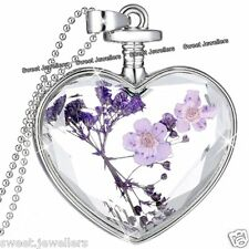 Purple Flower & Silver Heart Pendant Necklace Xmas Jewellery Gifts For Her Women
