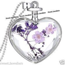Flor Púrpura & Plata Collar Con Corazón Navidad Joyería Para Ella De Mujer