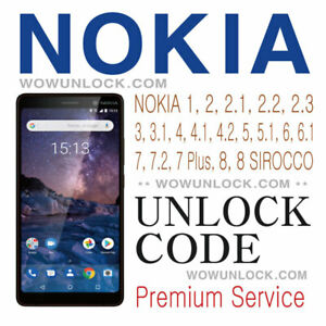Unlock Code for Nokia 1 2, 2.1, 2.2, 3, 3.1, 4, 4.2, 5, 5.1, 6, 6.1, 7, 8 Plus