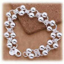 """925 Sterling Silver 7 1/2"""" Linked Chain Beaded Bracelet Bangle Giftpkg D295p"""