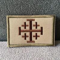 Embroidered Jerusalem Crusader Tactical Army Flag Hook Loop Patch Badge