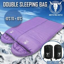 Double Camping Envelope Twin Sleeping Bag Thermal Tent Hiking Winter -10° C Purp