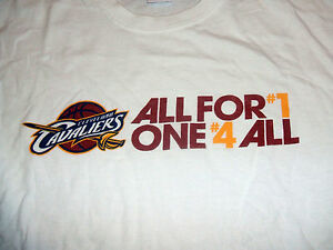 """Cleveland Cavaliers """"All For #1 One #4 All"""" White XL Cotton T-Shirt CAVS EXC"""