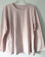 NEW PURE J. JILL L Petite L/S Pima Stretch-Cotton Crew-neck Tee Pink Heather