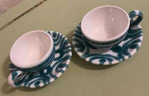 Vintage Gmundner Keramik Dizzy Green 2 Tea/Coffee Cup & Saucer Set Flame Vertigo