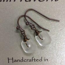 Min Favorit Frost White Sea Glass Square & Vintaj Bronze Artisan Earrings Petite